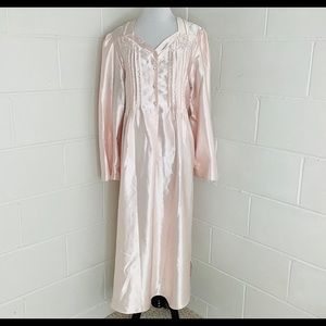 Vtg Aria L Nightgown Long Silky Flannel Lined